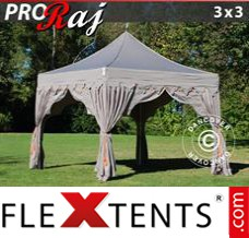 "Tonnelle pliante FleXtents PRO ""Raj"" 3x3m Latte/Orange"