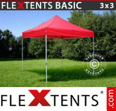 Tonnelle pliante FleXtents Basic, 3x3m Rouge